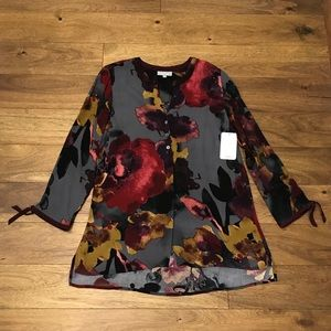 Habitat size small high low autumn floral top NWT